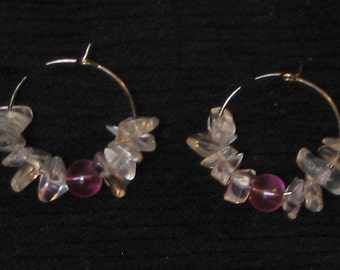 Pink and Clear Glass Hoop Earrings