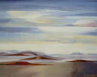 Arizona Landscape, by Joanna Kos, original oil painting, southwestern landscape, Arizona desert, desert art, semi abstract art