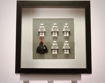 Star Wars Storm Troopers & Darth Vader mini Figures framed picture 25 by 25 cm