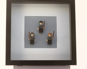 Harry Potter, Hermione Granger  and Ron Weasley mini Figures framed picture 25 by 25 cm