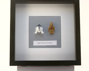 Star Wars R2D2 and C-3PO  mini Figures framed picture 25 by 25 cm