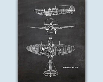 Airplane Art, Aviation Wall Art, Airplane Decor, Pilot Gift, Airplane Poster, Chalkboard Print, Aviation Gifts, Spitfire MK VB