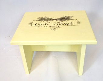 Hand painted footstool with lavender French graphic