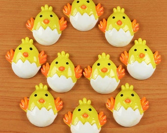 10pcs Cute Chick Chicken Egg For Easter Party Cabochons Resin Flatbacks Scrapbooking Girl Hair Bow Center Crafts Making Embellishments DIY