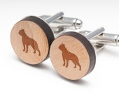 Boston Terrier Wood Cufflinks Gift For Him, Wedding Gifts, Groomsman Gifts, and Personalized