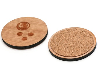 Planet Wooden Coasters Set of 4, Gifts For Him, Wedding Gifts, Groomsman Gifts, and Personalized