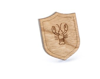 Lobster Lapel Pin, Wooden Pin, Wooden Lapel, Gift For Him or Her, Wedding Gifts, Groomsman Gifts, and Personalized