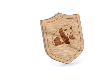 Panda Lapel Pin, Wooden Pin, Wooden Lapel, Gift For Him or Her, Wedding Gifts, Groomsman Gifts, and Personalized