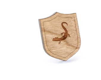 Salamander Lapel Pin, Wooden Pin, Wooden Lapel, Gift For Him or Her, Wedding Gifts, Groomsman Gifts, and Personalized