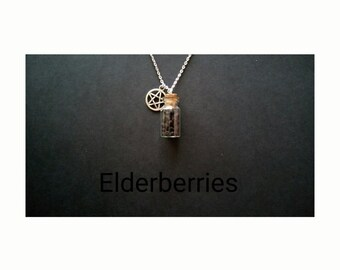 Genuine Wiccan Herb Bottle Amulet Necklace. Elderberries, Good Fortune/money.