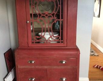 vintage kitchen cabinet. shelving inside cabinet