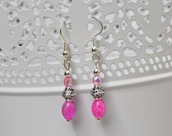 Shocking pink beaded earrings