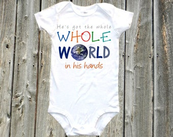 he's got the whole world in his hands baby bodysuit, cute baby onesie, one-piece shirt