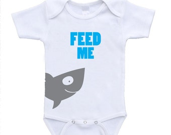 Feed Me Shark Baby First Bodysuits Onesies