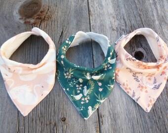 Bandana bibs, Organic baby bib, Baby girl gift, Organic bandana bib, Baby girl bandana, Organic drool bib, Modern bib, Baby birds,