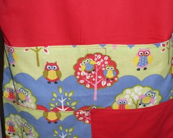 Handmade Chair Bag first name embroidered free 3 Pockets Owls  prints