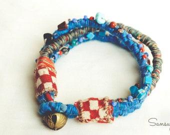 Blue Fabric Bracelet, Blue boho bracelet, Blue gypsy bracelet, Fabric anklet, Blue beads bracelet, Ankle Bracelet, Fabric Bracelet, Tribal