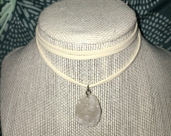 Drusy leather choker in grey, white or black