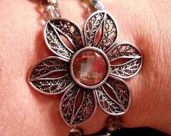 Light Brown Crystal Flower Bracelet (Metal)