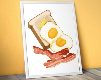 "Bacon, Eggs and Toast Food Illustration - 11""x14"" Art Print"