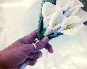 Everlasting bridal bouquet of arum flowers