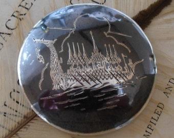 Vintage Siam Silver Nielloware Brooch - Depicting Ceremonial Dragon Boat/Vessel