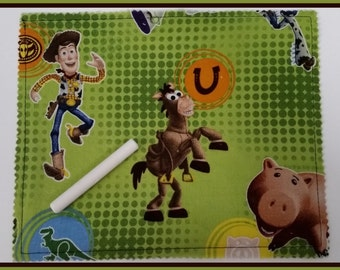 Roll Up Chalk Mat - Toy Story Woody gift for her or him / holiday / stoking stuffer / basket filler / birthday / party favor / art
