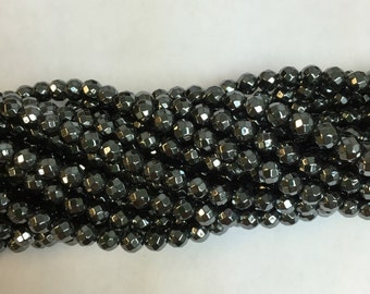 4MM,5MM,6MM,8MM,10MM faceted hemetite beads