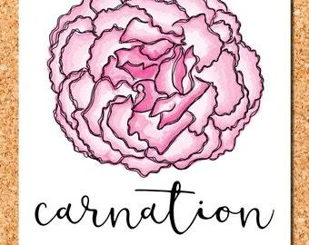 floral  wall art: pink carnation