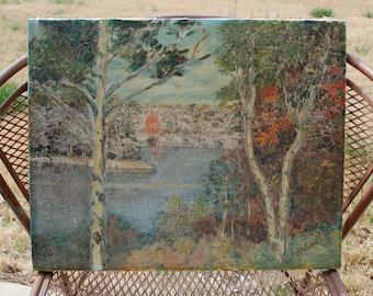 vintage landscape oil painting by McCamp