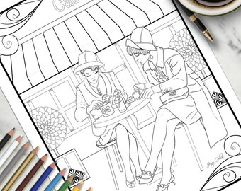 Adult Colouring Page French Cafe
