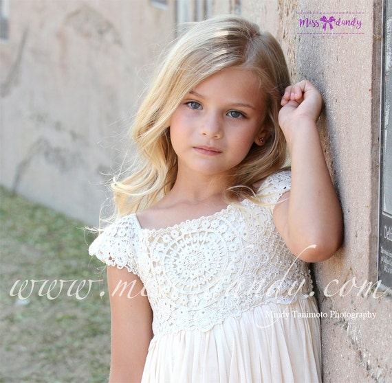 Sienna Dress- *In Stock Ready To Ship!* Beige/Tan Crochet Bohemian Style Flower girl Dress, Boho Romantic Flower Dress Wedding dress,Rustic