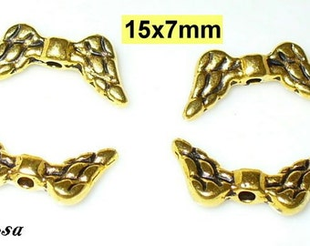 4 wing 15mm gold beads, Angel (105.15)