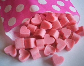 Handmade Mini Heart Shaped Soy wax melts Black Raspberry scent x 50