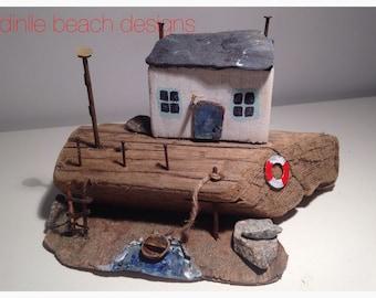 "Driftwood sculpture "" fishermans cottage"""