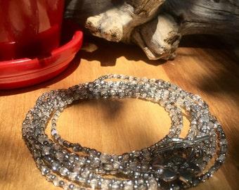 Long triple wrap necklace or bracelet
