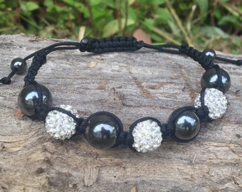 Crystal beaded black macrame braided adjustable bracelet