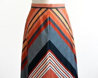Vintage 1970's, Retro Style, Chevron Patterned, Midi-Length, Light-Weight Skirt