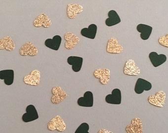 200 Green and Gold Confetti Heart Confetti Glitter Confetti Shower Confetti Baby Confetti Wedding Confetti Birthday Confetti Bachelorette