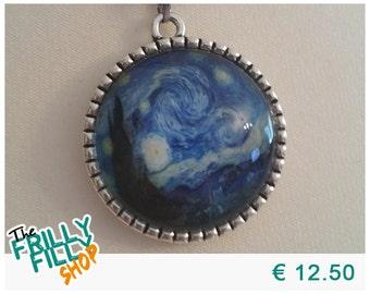 "Vincent van Gogh Starry Night Cabochon Necklace ""De sterrennacht"""