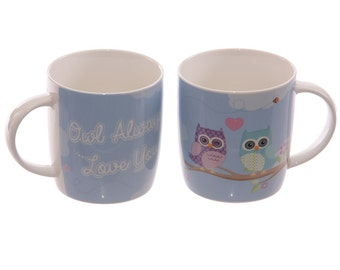 Cute Coffee Cups Love Owls New Bone China Mugs Set for 2 Gift Ideas