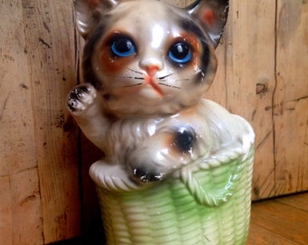 Vintage ceramic kitty cat bank made in Japan