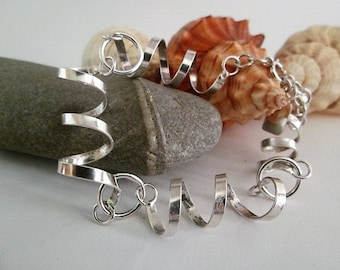 Curly bracelet made from sterling silver