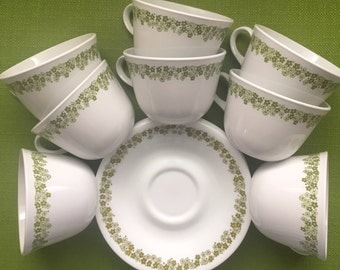 Vintage 70s Retro Avocado Green Corelle Spring Blossom Daisy Tea/Coffee Cup Mug with Saucers Set of 8