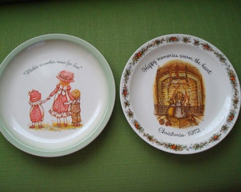 "Vintage Holly Hobbie Plate Set of 2/""Mother is another name for love""/Christmas Plate/""Happy memories warm the heart"""