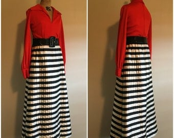 Vintage 70s Saks Fifth Avenue Maxi Dress | Red/Orange Bodice | B&W Striped Quilted Satin
