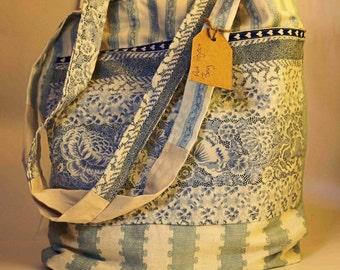 Blue patterned project bag