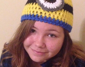 Crocheted One Eyed Minion Hat