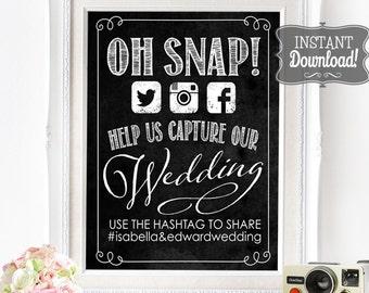 Wedding Social Media Poster - INSTANT DOWNLOAD - Editable Oh Snap Wedding Photo Social Sharing Sign, Wedding Art, Printable Poster