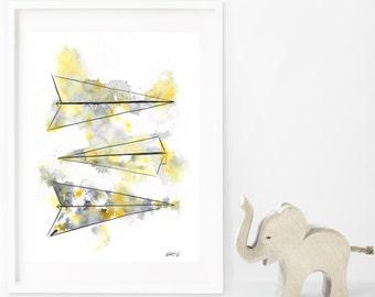 Paper Planes Grey, A3 Giclée Print of Original watercolour painting